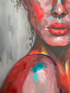 Bunte Gesicht emotionale Kunst Impasto Malerei abstrakte | Etsy