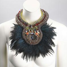 Beaded feather collar by Anita Quansah London