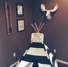 We are in love with the way that our client @acresandanchors has incorporated The Edmonton moose head in this cute little nursery! And how cute is that teepee???