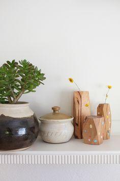 Stampel Fassett wooden vase - spotted