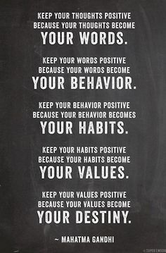 Thoughts become Words. Words become Actions. Actions become Habits. Habits become Character. Your Character becomes your Destiny.