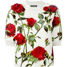 Dolce & Gabbana Rose Print Brocade Sweatshirt ($1,608) ❤ liked on Polyvore featuring tops, hoodies, sweatshirts, short sleeve sweat shirt, white sweatshirt, sweat shirts, rose print top and white sweat shirt
