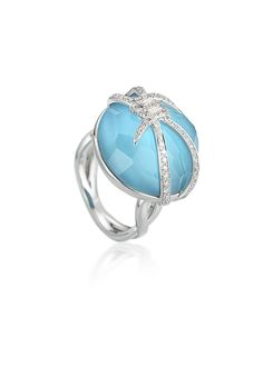 Stephen Webster 18-carat White Gold Forget Me Knot Bubble Ring with Turquoise Crystal Haze and White Diamonds.