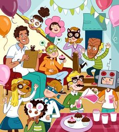 """Mask Party"" illustration for client Highlights Puzzlemania by professional illustrator Genevieve Kote Spanish Practice, Spanish Vocabulary, Spanish Lessons, How To Speak Spanish, Teaching Spanish, Teaching English, Spanish Teacher, Writing Practice, Spanish Activities"