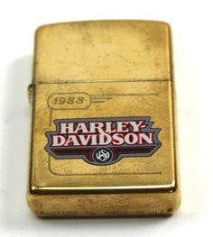 Vintage HARLEY DAVIDSON 1988 Tank Design Brass Zippo Lighter +Box 99194-96Z Zippo Harley Davidson, Vintage Harley Davidson, Zippo Collection, Tank Design, Zippo Lighter, Old And New, Smoking, Gadgets, Cases