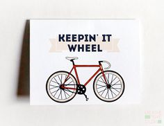 Keepin' It Wheel Funny Bicycle Card on Etsy