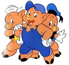 Los Tres Chanchitos ilustraciones canciones infantiles para bajar Walt Disney, Famous Cartoons, Disney Cartoons, Peppa Pig Family, Pig Birthday, Three Little Pigs, Vintage Cartoon, Stories For Kids, Wolves