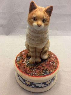 Orange Tabby Cat Music Box San Francisco Memory Song Lesley Ann Ivory Memories  #orangetabby #undertherooftreasures #SanFranciscoMusicBox