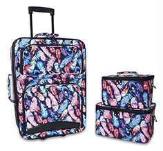 Luggage Sets Collections | Ever Moda 3Piece Carry On Luggage Set with Wheels for Travels Feather Multicolor * Click image for more details. Note:It is Affiliate Link to Amazon.
