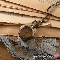 1 Pc Small Vintage Style Pocket Watch Necklace Amber Glass Jewel Door Pocketwatch CHAIN INCLUDED  X003 on Etsy, $10.00