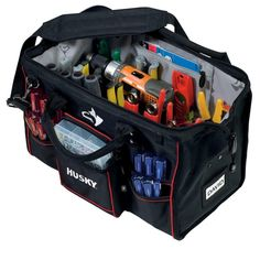 Husky Heavy Duty Large Mouth Tool Bag Storage Electrician Tools Organizer, 18 in Tool Wall Storage, Belt Storage, Cabinet Storage, Car Storage, Garage Storage, Tool Backpack, Tool Tote, Husky Tool Bag, Carpentry Hand Tools