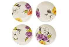 "Set of 4  Charcoal Floral Tidbit Plates by Kate Spade 6"" diameter -"