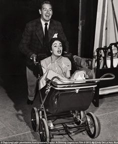 Clowning around: Taylor with Don Taylor on the set of the 1951 comedy film Father's Little Dividend.
