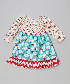 Teal & Red Snowman Pattycake Dress - Toddler & Girls | Daily deals for moms, babies and kids