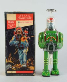 Tin Litho Space Conqueror Man Of Tomorrow : Battery - Operated. Scarce green color variation. Made in Japan by Daiya.