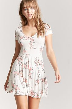 Product Name:Floral Mini A-Line Dress, Category:dress, Comfy Dresses, Simple Dresses, Sexy Dresses, Casual Dresses, Short Dresses, Summer Dresses, Floral Dresses, Casual Fall Outfits, Girly Outfits