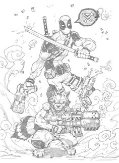 Deadpool and Rocket Raccoon by Claudiu Limbasan