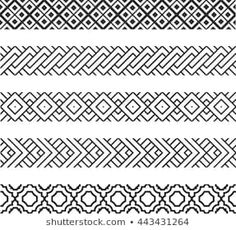 Border Embroidery Designs, Geometric Embroidery, Quilting Designs, Embroidery Patterns, Border Pattern, Border Design, Tribal Pattern Tattoos, Dope Wallpaper Iphone, Band Tattoo