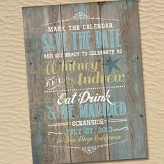 A beachside wedding invite or Save The Date card that feels truly rustic…