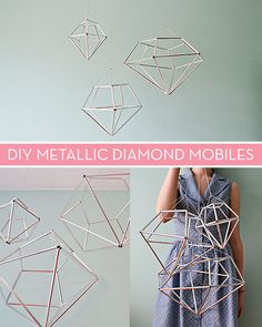 DIY Hanging Diamond Decor Diamonds made out of straw and string are the prettiest, easiest party decoration. Easy Party Decorations, Diamond Decorations, Hanging Decorations, Straw Decorations, Office Decorations, Diy Décoration, Easy Diy, Fun Diy, Ideias Diy
