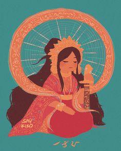 "saykiko: ""Haliya, the Bicolano goddess of moonlight [⚫] "" Filipino Art, Filipino Culture, Filipino Tattoos, Fantasy Character, Fantasy Rpg, Character Art, Philippine Mythology, Philippine Art, Sanskrit"