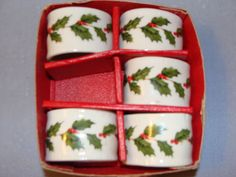 Lefton BOUGHS OF HOLLY  Napkin Ring LOT OF 5 IN BOX  VINTAGE CHRISTMAS