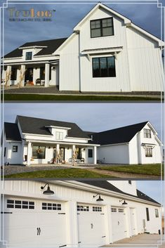 Get the class White Modern Farmhouse look, Maintenance-Free! Modern Farmhouse Exterior, Farmhouse Plans, Farmhouse Design, Farmhouse Style, Barndominium, Metal Building Homes, Building A House, Board And Batten Siding, House Plans One Story