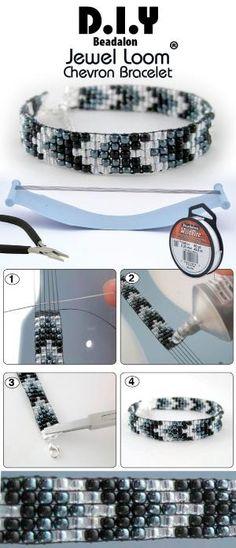 DIY Jewel Loom Beaded Chevron Bracelet by rowena