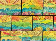 totally stealing this idea...foreground/middle ground/background.  LOVE LOVE LOVE the outcome and how you can go many directions with this.  colors/designs/patterns...reminds me of romero britto lessons - similar process.  plus love how you can incorporate color wheel/color mixing into it.