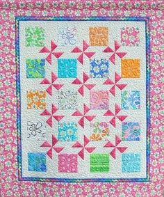 Idea for summer breeze fabric? Quilt with blocks and pinwheels