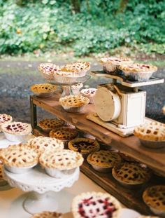 Mini lattice-topped pies on the wedding dessert station. cake, mini pies wedding, wedding ideas, weddings, wedding desserts, dessert tabl, minis, dessert station, dessert bars