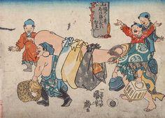 <福禄寿あたまのたわむれ : FUKUROKUJU ATAMANOTAWAMURE> POLE BY FUKUROKUJU'S BIG HEAD KUNIYOSHI UTAGAWA 1798-1861 Last of Edo Period