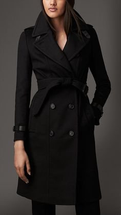 Looking for a new black winter coat. Mine is worn out! Leather Trim Wool Cashmere Trench Coat | Burberry