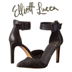 """Elliott Lucca Snakeskin d'Orsay Pump NWOT Gorgeous black and charcoal snakeskin d'Orsay ankle strap pump by Elliott Lucca. Very chic and sexy too! Description in pic 3. Heel height 3 3/4"""", platform 1/4"""". NWOT or box. ❌ NO TRADES ❌ NO PP❌NO LOWBALLING ❌ Elliott Lucca Shoes"""
