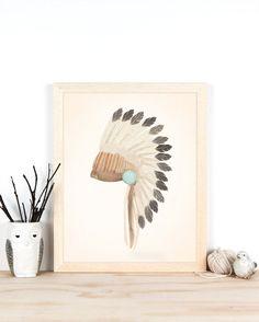 Warbonnet Art Print - 11x14 or A3 Tribal Art of Indian Headdress, Boho Kids Room Decor, Art for Boys Room