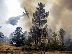 A firefighter watches as a plane helps to extinguish a fire in Castro Beiro, Galicia, northwestern Spain.  Brais Lorenzo, European PressPhoto Agency