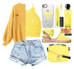 """yelloww"" by varrica ❤ liked on Polyvore featuring Castañer, Boohoo, Versus, Casetify, MAC Cosmetics and Hermès"