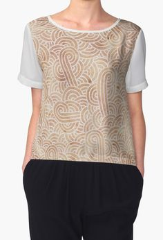 """""""Iced coffee and white zentangles"""" Women's Chiffon Tops by Savousepate on Redbubble #tshirt #teeshirt #clothing #apparel #pattern #drawing #doodles #scrolls #spirals #arabesques #zentangles #boho #modern #graphic #geometric #icedcoffee #brown #neutralcolors"""