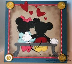 Mickey and Minnie punch art by melissabanbury - Cards and Paper Crafts at Splitcoaststampers Paper Punch Art, Punch Art Cards, Disney Valentines, Valentine Day Cards, Mickey And Minnie Wedding, Mickey Mouse Silhouette, Dancing Drawings, Disney Cards, Anniversary Cards