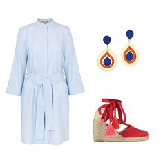 Style your cotton shirt dress with a pair of bright wedges and the Pear Drop earrings for the ultimate Sunday lunch get up. #SundayStyleGuide