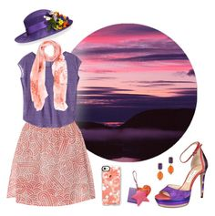 """Coral and Purple summer woman outfit"" by savousepate ❤ liked on Polyvore featuring prAna, Jimmy Choo, Miu Miu, Philip Treacy, ESCADA, 1st & Gorgeous by Carolee and Casetify"