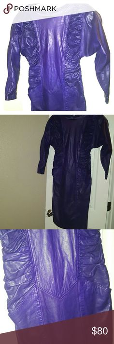 Vintage Leather Dress This purple leather dress is to die for. The details and pockets are a huge plus! Omg I wish I could squeeze into it! Dresses