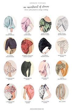 Who knew there were so many different types of sleeves a garment could have! Here is a quick reference guide to 16 different types of sleeves often found with vintage dresses and blouses.