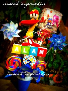 Fiesta Pocoyo, centros de mesa Pocoyo, ideas fiesta, sweetmyruchis.blogspot.com
