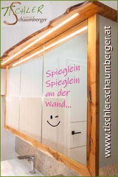 Spieglein, Spieglein an der Wand... Das ist der schönste Spiegelschrank im Land - Eibenholz natur mit Baumkante Garage Doors, Outdoor Decor, Home Decor, Nice Asses, Decoration Home, Room Decor, Home Interior Design, Carriage Doors, Home Decoration