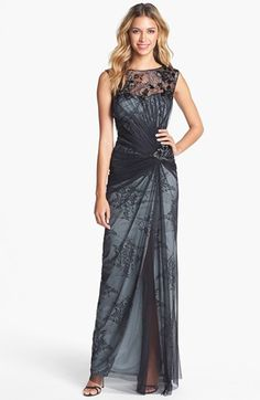 Mother of the groom dress Tadashi Shoji Embellished Tulle & Lace Gown available at #Nordstrom - this is a KNOCKOUT!