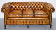 We are delighted to offer for sale this stunning fully restored late Victorian Chesterfield club sofa with Thomas Chippendale style claw & ball feet A truly remarkable find, I have only ever seen one or two early Chesterfield club sofas with the Chesterfield Chair, Leather Chesterfield, Leather Sofa, Brown Leather, Victorian Couch, Comfy Sofa, Club Chairs, Vintage Leather, Seat Cushions