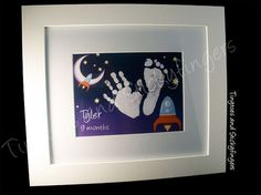Rocket Nursery Print Keepsake  Hand prints foot by Tinytoesprints