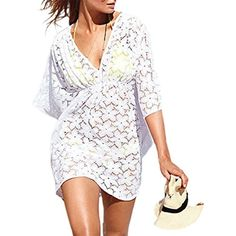 MG Collection Fashion Floral White Lace V-Neck Beach Swimsuit Cover Up -- Click here for more details @