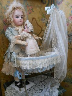 ~~~ Darling German Bisque Child in Cradle for French Market ~~~